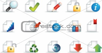 business document icon set