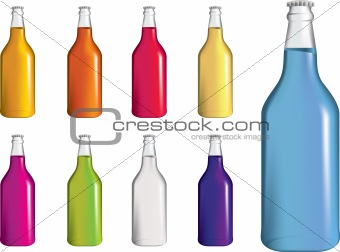 set of fizzy drink, soda or alcohol bottles