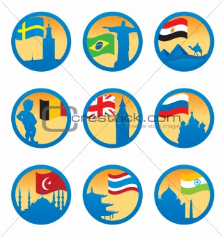 Flags and symbols. Vector