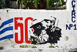 Mural marking 50 years of the revolution in Cuba