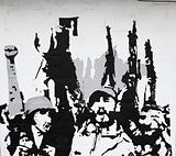 Cuban revolution painted on a wall