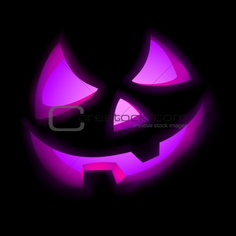 Isolated glowing pumpkin on black. EPS 8