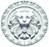 Vintage Lion Head Sculpture. Vector
