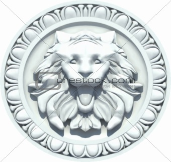 Vintage Lion Head Sculpture. Vector