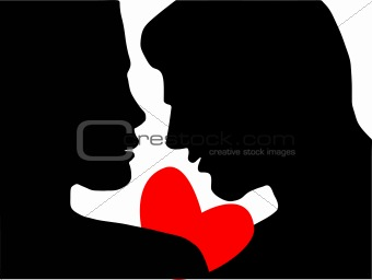 A silhouette of a couple with a heart.