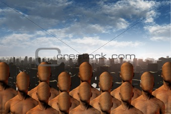 Faceless masses before ruins