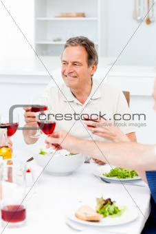 Senior taking lunch with friends