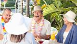 Friends drinking  together under the sun