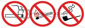no smoking sign, no fire, no match, vector symbol