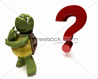 Tortoise Caricature thinking by a question mark
