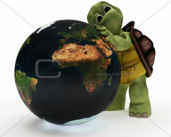 Tortoise Caricature hugging the earth