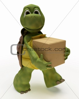 Tortoise Caricature carrying packing cartons