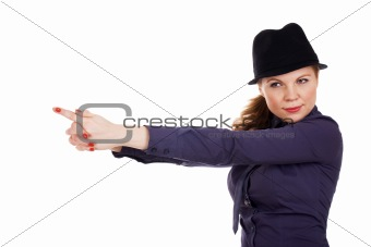 Beautiful young woman with imaginary pistol
