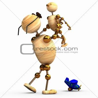 3d wood man holding a chlid