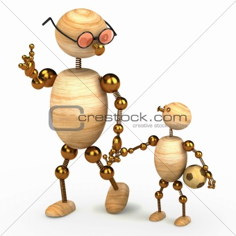 3d wood man holding a chlid