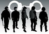 Police forces and handcuffs