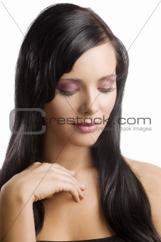 portrait brunette with long hair