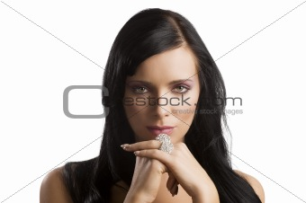 portrait brunette with rings
