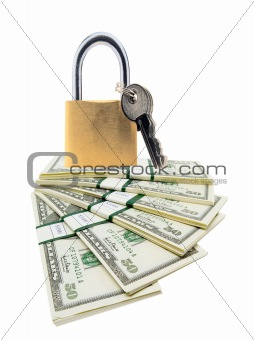 Money and lock isolated on white background