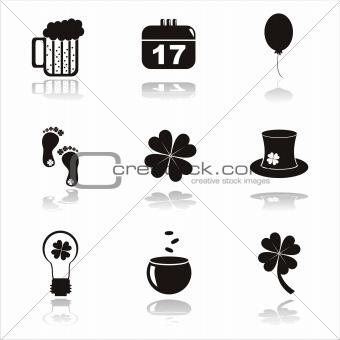 black st. patrick's day icons