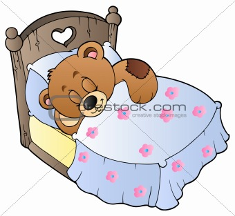 Cute sleeping teddy bear