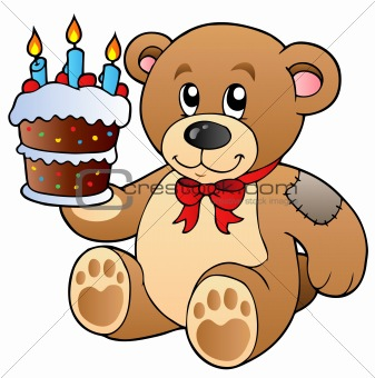 Cute teddy bear with cake