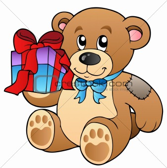 Cute teddy bear with gift