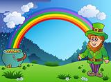 Meadow with rainbow and leprechaun