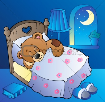 Sleeping teddy bear in bedroom
