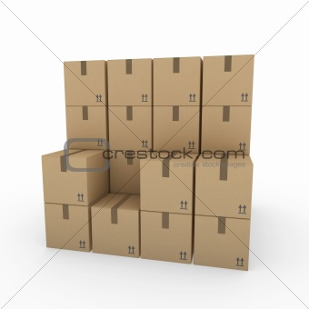 3d package shipping box brown
