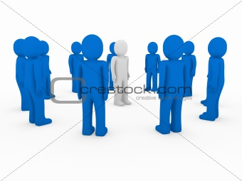 3d human group circle blue