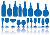 bottles and glasses, vector