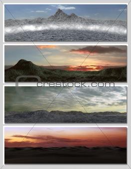 four different fantasy landscapes for banner, background or illustration