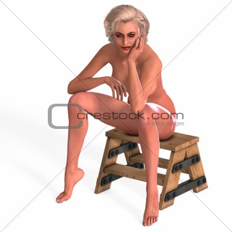 attractive nude young female in a classic pinup pose