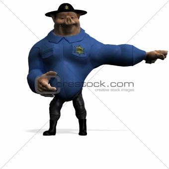 toon animal big pig as a policeman