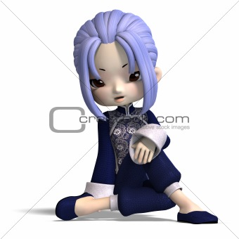 charming china cartoon figure in dark blue clothes