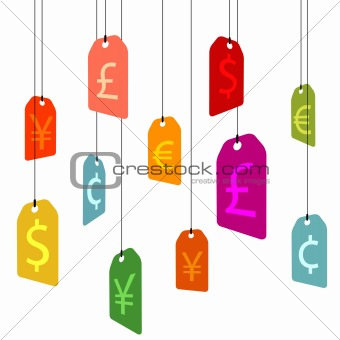 hanging pricetags with currency signs