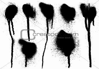 black spray drips