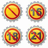 beer lids with prohibition on age vector illustration