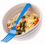 Healthy Chicken, Rice, Corn and Peppers Meal