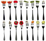 Collage of vegetables in forks