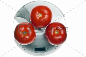 Tomatoes on food scale