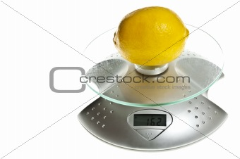 Lemon on food scale
