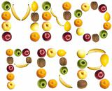 Letters made of fruits