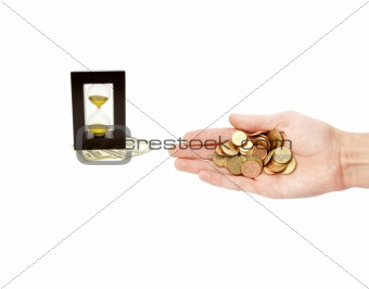 time is money composition with hand coins