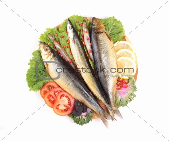 fish with lemon on plate