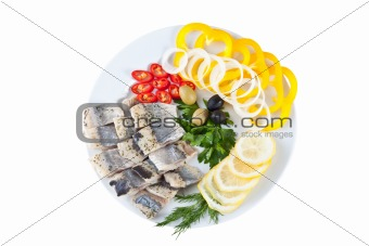 sliced fish with vegetables