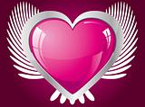 Winged glitter pink heart