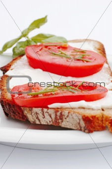 Healthy Sandwich With Cheese And Tomatoes