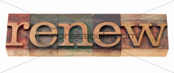 renew word in wood fonts
